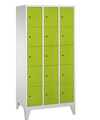 Compartimiento Armario/taquilla 3columnas/15compartimentos–1850mm x 1200mm x 500mm–Verde línea de taquilla Max