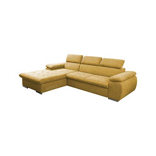 Canapé d'angle Jaune Tissu Moderne Confort
