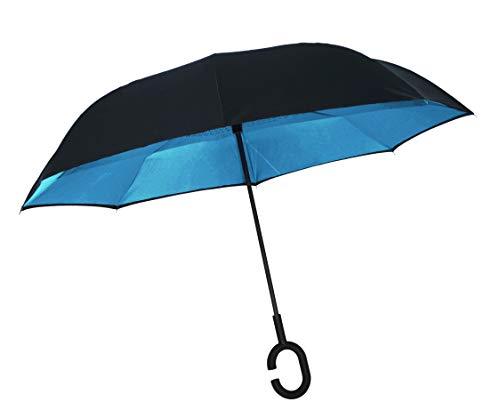 ADVERS Paraplu, omgekeerd, dubbellaags, innovatief, compact, greep in C-vorm, robuust, winddicht, zwart, waterdicht, voor auto, cadeau voor dames en heren