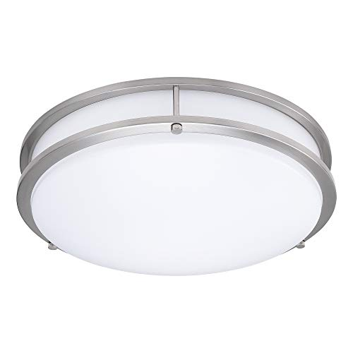 (1 Pack) 15-Inch Double Ring Dimmable LED Flush Mount Ceiling Light, 22W (100W Equivalent), 1800lm, 4000K Natural White, Brushed Nickel Finish with Plastic Shade, ETL Listed, Commercial or Residential