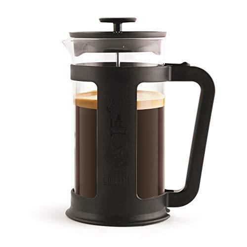 Bialetti 6186 Coffee, Pressofiltro French Press per caffè o tè, Contenitore in Vetro Borosilicato, Lavabile in lavastoviglie, 1 litro-34 Oz (8 Tazze), Nero, 8 Cups, Smart Black