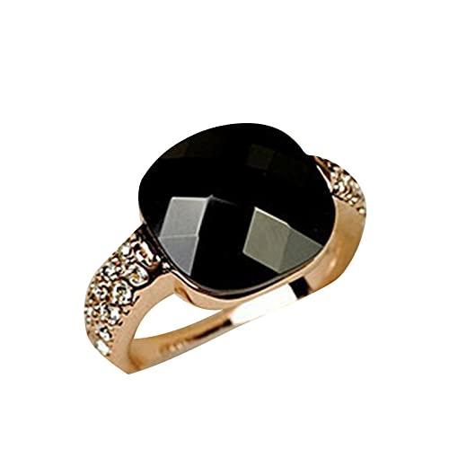 Negro Anillo Color Tierra Cristal Diamante Mujer Personalidad Piedra Preciosa Retro Pequeña Joyería Dedo