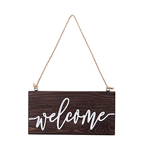 Xingying Wooden Welcome Sign for Front Door Round Rectangular Gates Wreath Decor Rural Hanging Ornament for Wall, Home, Fence, Farmhouse Porch Spring Welcome Sign Front Door Decoration