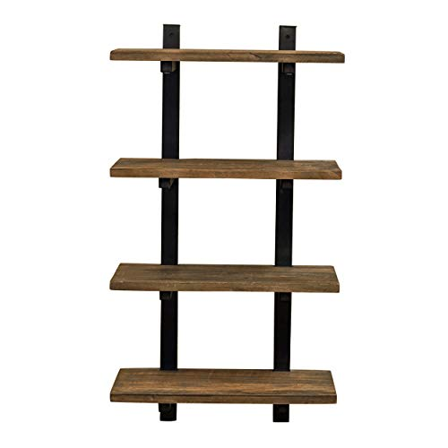 Alaterre Furniture Sonoma 36 Tall 4 Metal and Solid Wood Bath Wall Shelf 36 Inch Natural