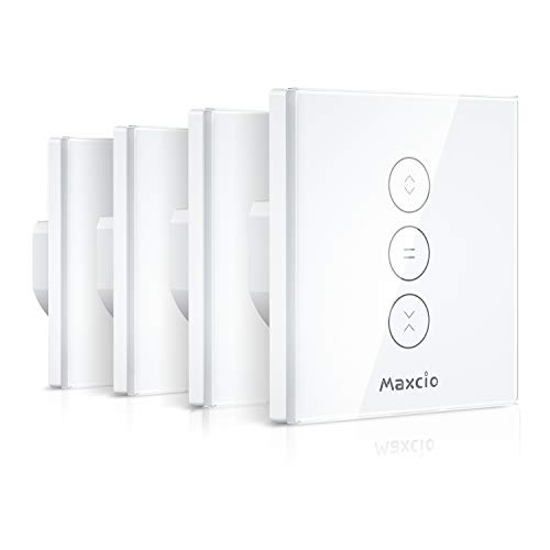 Alexa Interrupteur Volet Roulant Connecté, Maxcio Commutateur Volet Roulant WiFi Compatible avec Alexa et Google Home, WiFi Curtain Switch Peut Éteindre la LED par L'APP, Timer et Partager (4 Packs)