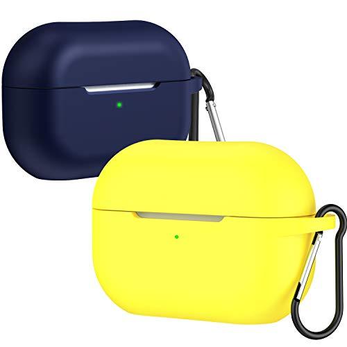 ivoler [2 Stück] Hülle kompatibel mit AirPods Pro Case, Stoßfeste & Staubdicht Schutzhülle mit Karabiner für Apple Airpods 3, Front LED Sichtbar (Gelb+Glitter klar blau)