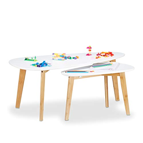 Relaxdays Table d'appoint en bois design nordique scandinave pieds bambou, blanc set de 2