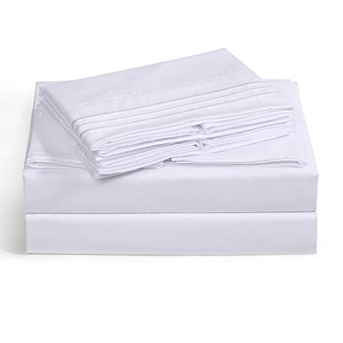 Balichun Bed Sheet Set Super Soft Cotton 1000 Thread Count Luxury Egyptian Sheets 12-Inch Deep Pocket Wrinkle and -4 Piece (White, Queen)