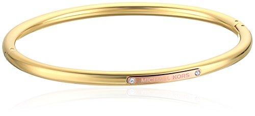 Michael Kors Tailored Two-Tone Gold-Tone Logo Plaque Hinged Bangle Bracel