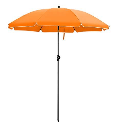 SONGMICS Sonnenschirm, Ø 160 cm, Marktschirm, UV Schutz UPF 50+, Sonnenschutz, achteckiger Gartenschirm aus Polyester, Schirmrippen aus Glasfaser, mit Tragetasche, Orange GPU60OG