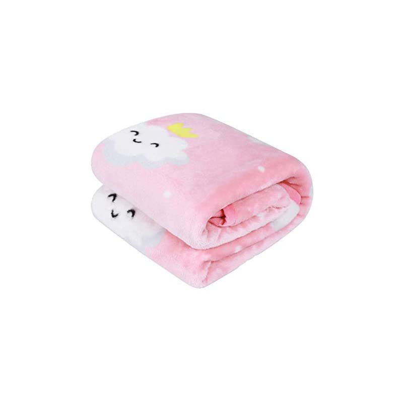 crib bedding and baby bedding tillyou micro fleece plush baby blanket large lightweight crib blanket for toddler bed, super soft warm kids blanket for daycare preschool, fluffy fuzzy flannel nap blanket oversized, 40x50 pink cloud