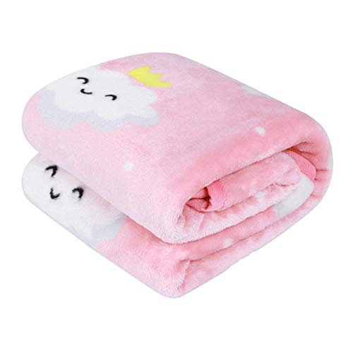 TILLYOU Micro Fleece Plush Baby Blanket Large Lightweight Crib Blanket for Toddler Bed, Super Soft Warm Kids Blanket for Daycare Preschool, Fluffy Fuzzy Flannel Nap Blanket Oversized, 40x50 Pink Cloud