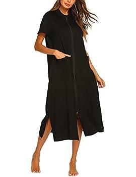 Ekouaer Robes for Women Short Sleeves Housecoat Zipper Front Nightgowns Sleepwear Black
