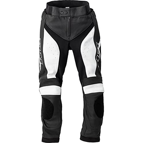 FLM Pantalones de motorista para mujer, pantalones combinados de piel 3.1, para todo el año negro/blanco 44