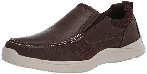 Nunn Bush Men's Conway Slip-On Moccasin Toe with Comfort Gel Loafer, Brown, 10 Wide