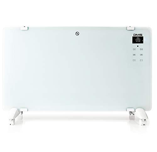 DMS® Elektro Glasheizung Glaskonvektor Elektroheizung Heizung Heizkörper | Touchscreen | APP WiFi Funktion | Fernbedienung | LED-Display | Timer | Stand- oder Wandgerät | 2000 Watt GKW-200 (Weiß)