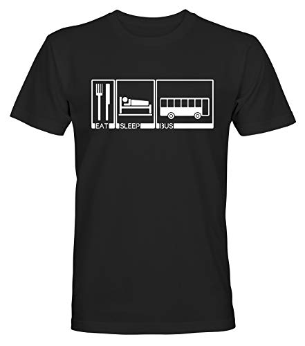 Eet slaap bus mannen vrouwen grappige premium T-Shirt, persoonlijk shirt cadeau idee zwart S-5XL