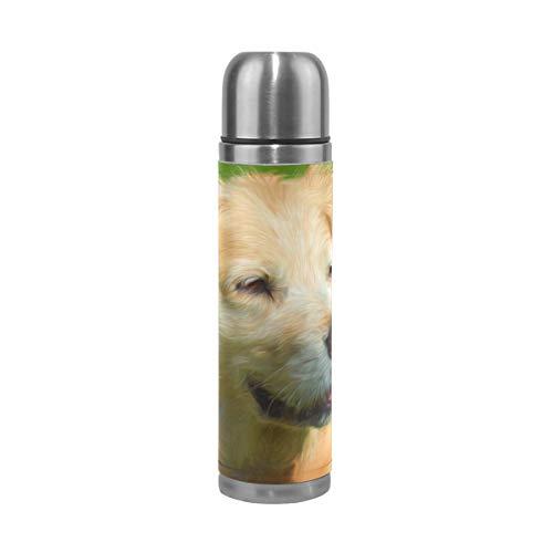 Tikismile - Termo de acero inoxidable con doble pared para pintura al óleo de perro, termo de botella de agua de acero inoxidable aislado, taza de viaje de piel, regalo de cumpleaños para niños y niñas