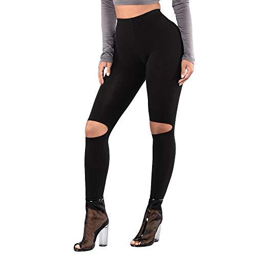 Pottoa Slim Leggings Fashion Solid joggingbroek met hoge elasticiteit, gat voor dames, Active Pantss