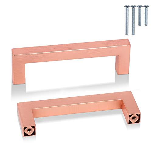 PinLin 20 Pezzi Maniglie per Mobili da Cucina 102mm Interasse Rame Oro rosa Acciaio Inossidabile Maniglie per Armadio Maniglia a Barra, Viti Incluse