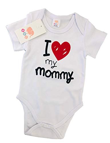 J2L Body para bebé I Love My Mommy de algodón 100, 3 – 24 Meses Blanco 74