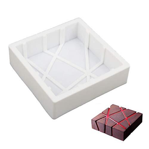 beicemania Moule à gâteau Coque en Silicone carré à Rayures rectangulaires Moule à pâtisserie en Silicone de qualité, 20cm Blanc