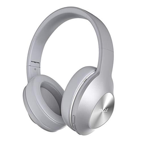 GWX hoofdtelefoon met ruisonderdrukking, bluetooth-hoofdtelefoon, opvouwbaar, stereo/bas, kan met mobiele telefoons en laptops worden verbonden, voor reizen en sport, zilverkleurig