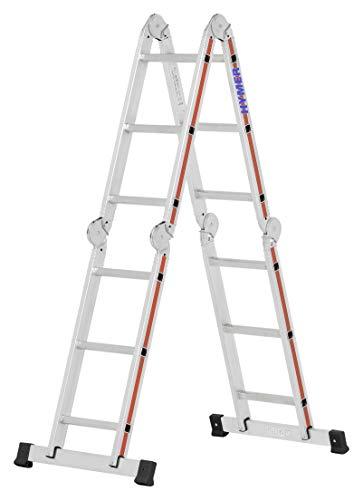 Hymer Mehrzweckleiter mit Arbeitsbühne 4143 (4x3 Sprossen, Holm 60 mm, Alu Leiter, Klappleiter, Anlegeleiter 3,47 m) 414312