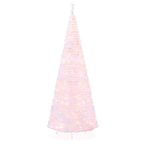 Best Choice Products 7.5ft Pre-Lit Pull-Up Pop-Up Artificial Christmas Tree Holiday Decoration w/ 450 Warm White Lights, Metal Stand, Minimal Assembly, White