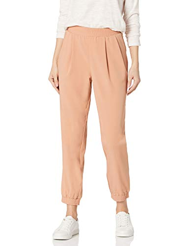 Amazon Brand - Daily Ritual Women's Fluid Stretch Woven Twill Jogger Pant with Ribbed Cuff, Clay, Large