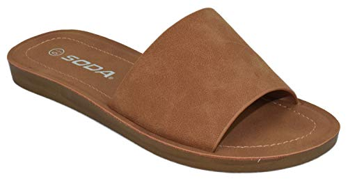 Soda Shoes Women Flip Flops Basic Plain Slippers Slip On Sandals Slides Casual Peep Toe Beach Efron-S Tan Brown 9