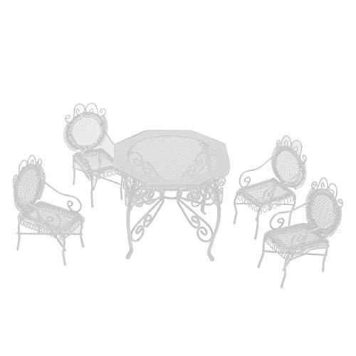 Puppenhausmöbel, Puppenhaus Tisch und Stühle, dekorative Liebhaber Miniatur Kunsthandwerk Liebhaber Gartendekoration für 1:12 Puppenhaus Innendekoration(White)