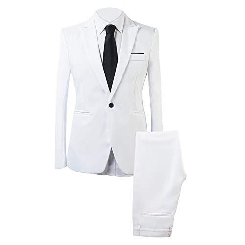 Abiti da uomo Slim Fit 2 pezzi cena di nozze classico vestito formale smoking business casual giacca & pantaloni bianco XXL