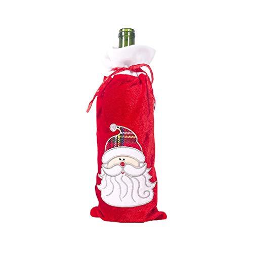 1 unid Navidad Tinto Botella de Vino Cubiertas Bolsa Ropa de Ropa Holiday Santa Claus Champagne Funda Botella Decoraciones de Navidad Decoración del hogar (Color : Chocolate)