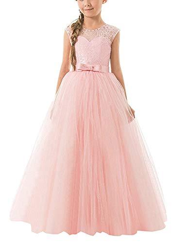 NNJXD Mädchen Kinder Spitze Tüll Hochzeit Kleid Prinzessin Kleider Größe (130) 6-7 Jahre Rosa