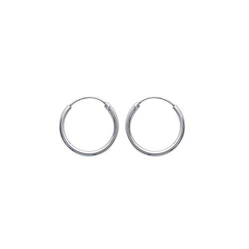Orecchini circolari da uomo, in argento 925/1.000 rodiato, 20 mm
