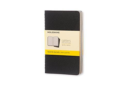 Moleskine Cahier notitieboekje (kartonnen omslag) set van 3 geruit Pocket/A6 zwart