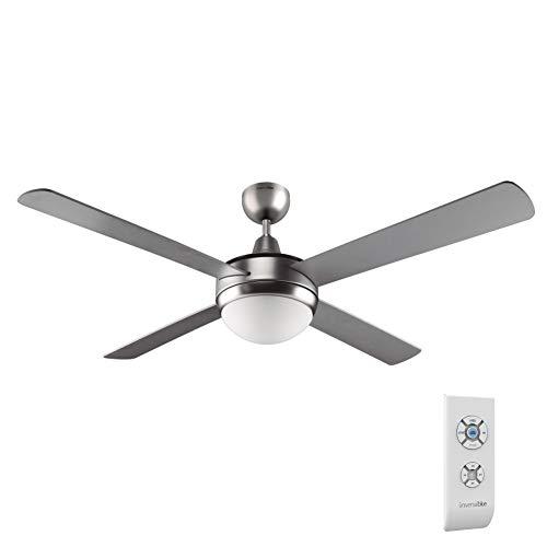 UNIVERSALBLUE | Ventilador de Techo INOX | Luz | Mando a Distancia | 70 W | 132 cm | Temporizador