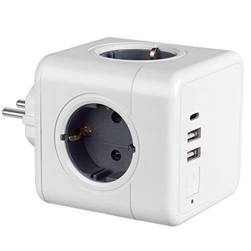 USB Steckdose Kabellos, 4Steckdosen mit 2 USB Ladegerät Anschluss und 1 Typ-C Port, 7-in-1Adapter mit USB Ladegerät, kompatibel für Smartphone Laptop usw. und verschiedene Elektrogeräte