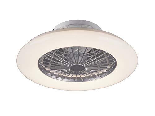 Dimmbarer LED Deckenventilator leise Ø 50cm mit Fernbedienung & Timer, Nachtlicht - Weiß/Silber Sternen Effekt