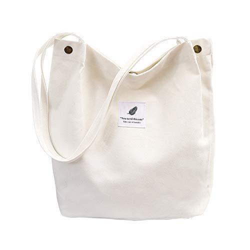 Bolsa de algodón, Bolsa de Compra Canva, Bolsos de hombro Durable, Bolsa de Transporte con Bolsillo Interior y Cremallera,Bolsa de Playa Casual Chic Tote Bag Ideal para Uso Diario y Viajes (blanco)