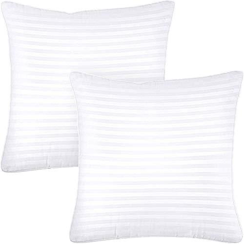 Utopia Bedding Cuscini Letto Premio (Set di 2) - 80 x 80 cm Guanciali Letto Coppia con Cerniera - Tessuto Misto Cotone con Fibra di Poliestere 3D (Bianco)