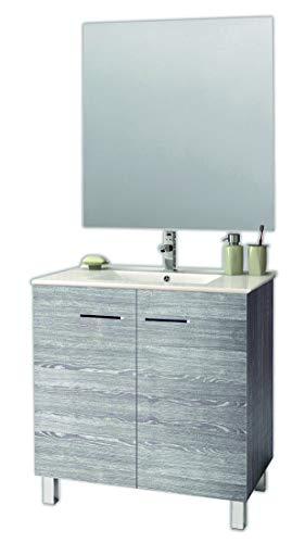 Juego de Mueble de Baño Modelo ESPACE, Conjunto formado por Mueble de Baño Dos Puertas Lacado en Color Ceniza, Medidas (60x45x80), Lavabo Encimera y Espejo. Compacto no precisa montaje