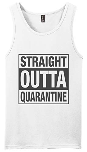Graphic Novelty Adult Social Distancing Shirt Straight Outta Quarantine Muscle Shirt Tank Top M White