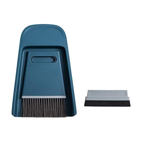 SEN-qiaolu Mini escobas Shovel Set Hogar Plastic Limpia Brush Pequeña Escoba Polvo Empuje (Color : Blue)