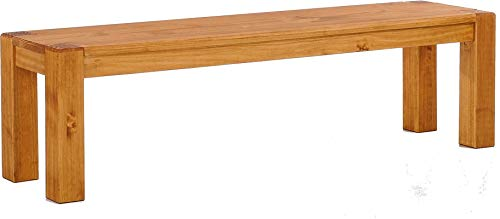 Brasilmöbel Sitzbank 180 cm Rio Kanto Honig Pinie Massivholz Esszimmerbank Küchenbank Holzbank - Größe und Farbe wählbar