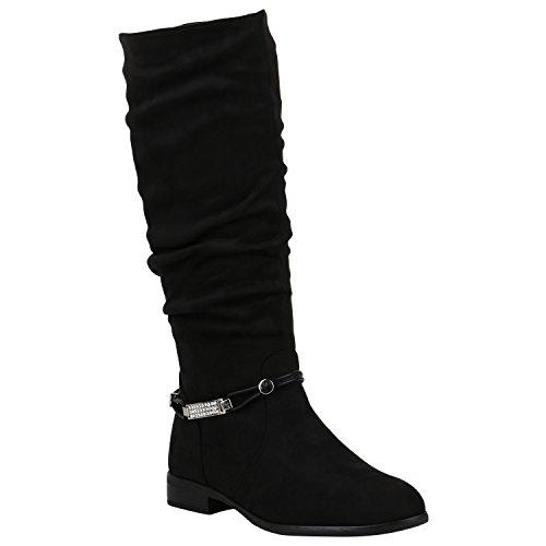 Gefütterte Damen Stiefel Klassische Langschaft Boots Schuhe 149804 Schwarz Zierperlen 41 Flandell