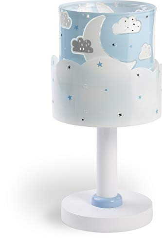 Dalber Moon Lámpara Infantil Mesilla Luna y Estrellas, 40 W, Azul