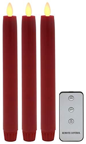 Tronje 3x LED Velas de Candelabro 24cm Rojo 5h Temporizador Control remoto con Efecto de Llama Funciona con pilas