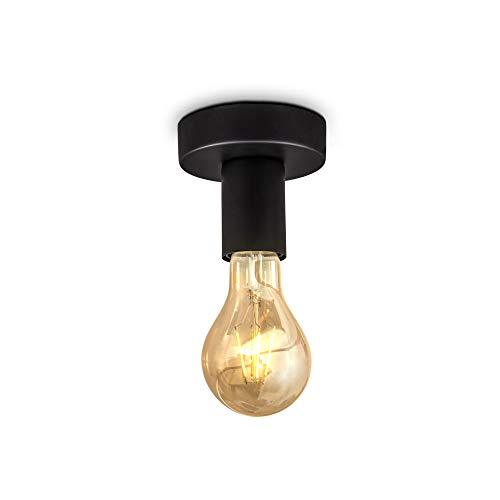 B.K.Licht spot plafond design rétro industriel, plafonnier métal noir mat, éclairage plafond & mural salon & chambre, douille E27, pour ampoule LED 10W max, Ø10cm